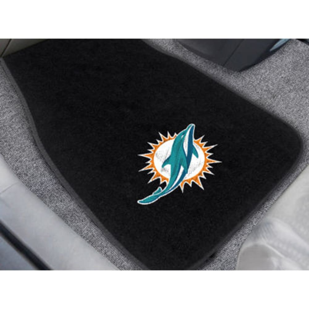 FAN MATS Miami Dolphins 2-Piece Embroidered Car Mat Set, Black ONE SIZE