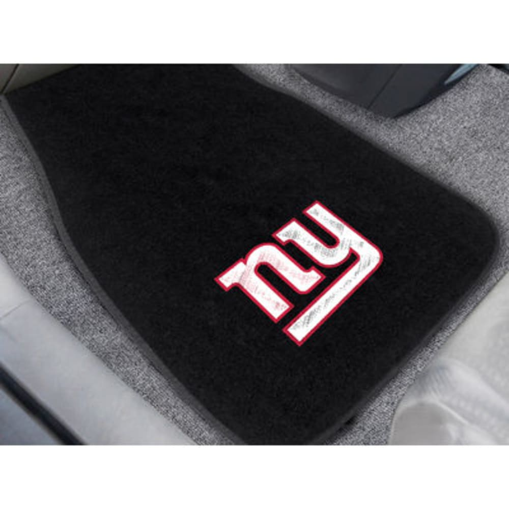 FAN MATS New York Giants 2-Piece Embroidered Car Mat Set, Black - BLACK