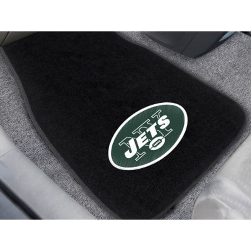 FAN MATS New York Jets 2-Piece Embroidered Car Mat Set, Black - BLACK