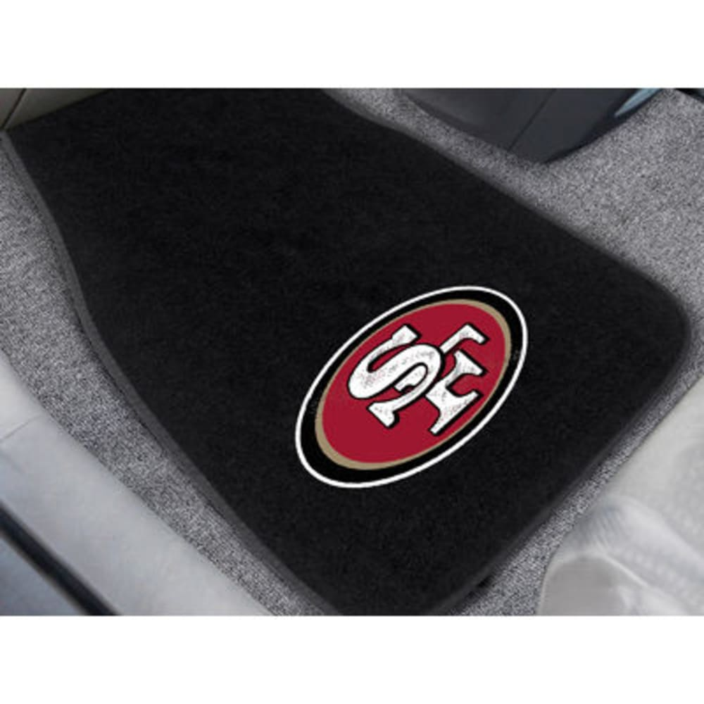 FAN MATS San Francisco 49ers 2-Piece Embroidered Car Mat Set, Black - BLACK