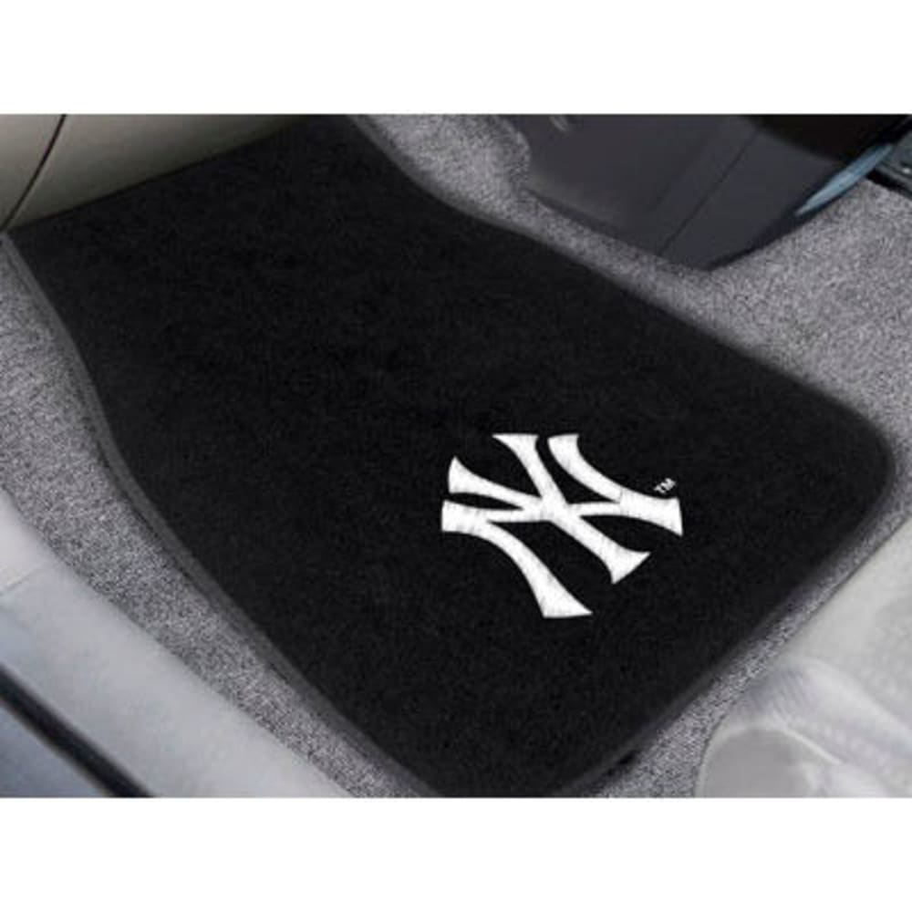 FAN MATS New York Yankees 2-Piece Embroidered Car Mat Set, Black ONE SIZE