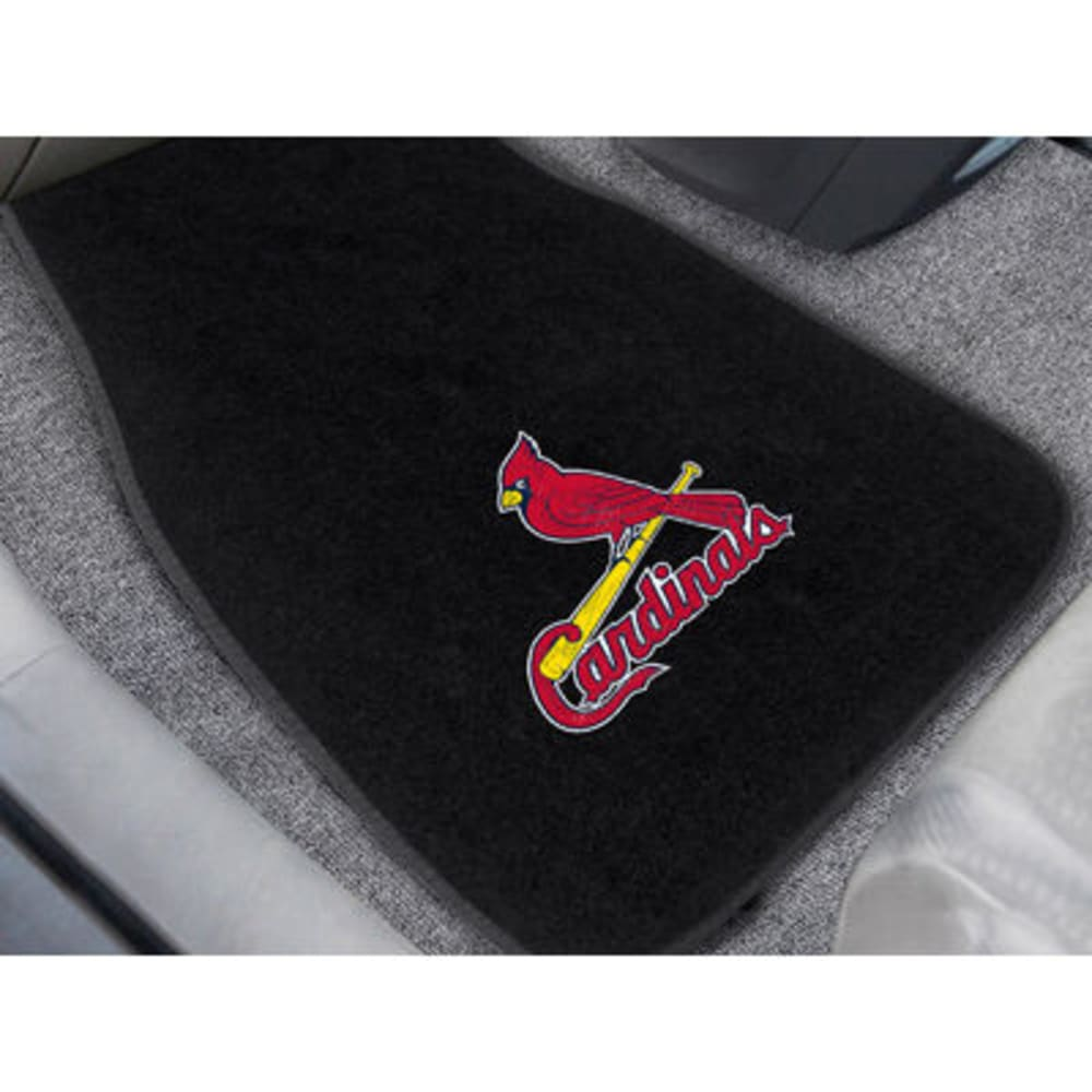 FAN MATS St. Louis Cardinals 2-Piece Embroidered Car Mat Set, Black - BLACK