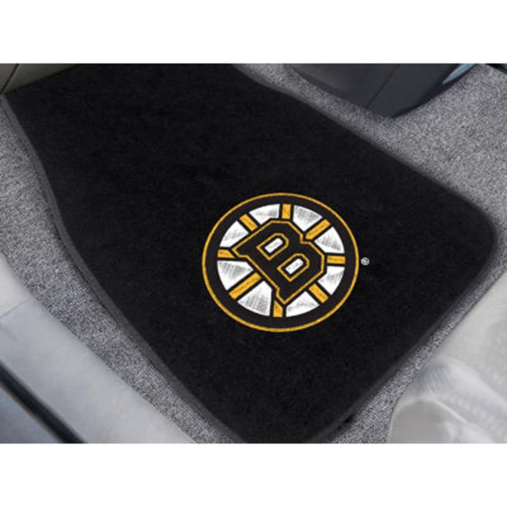 FAN MATS Boston Bruins 2-Piece Embroidered Car Mat Set, Black ONE SIZE