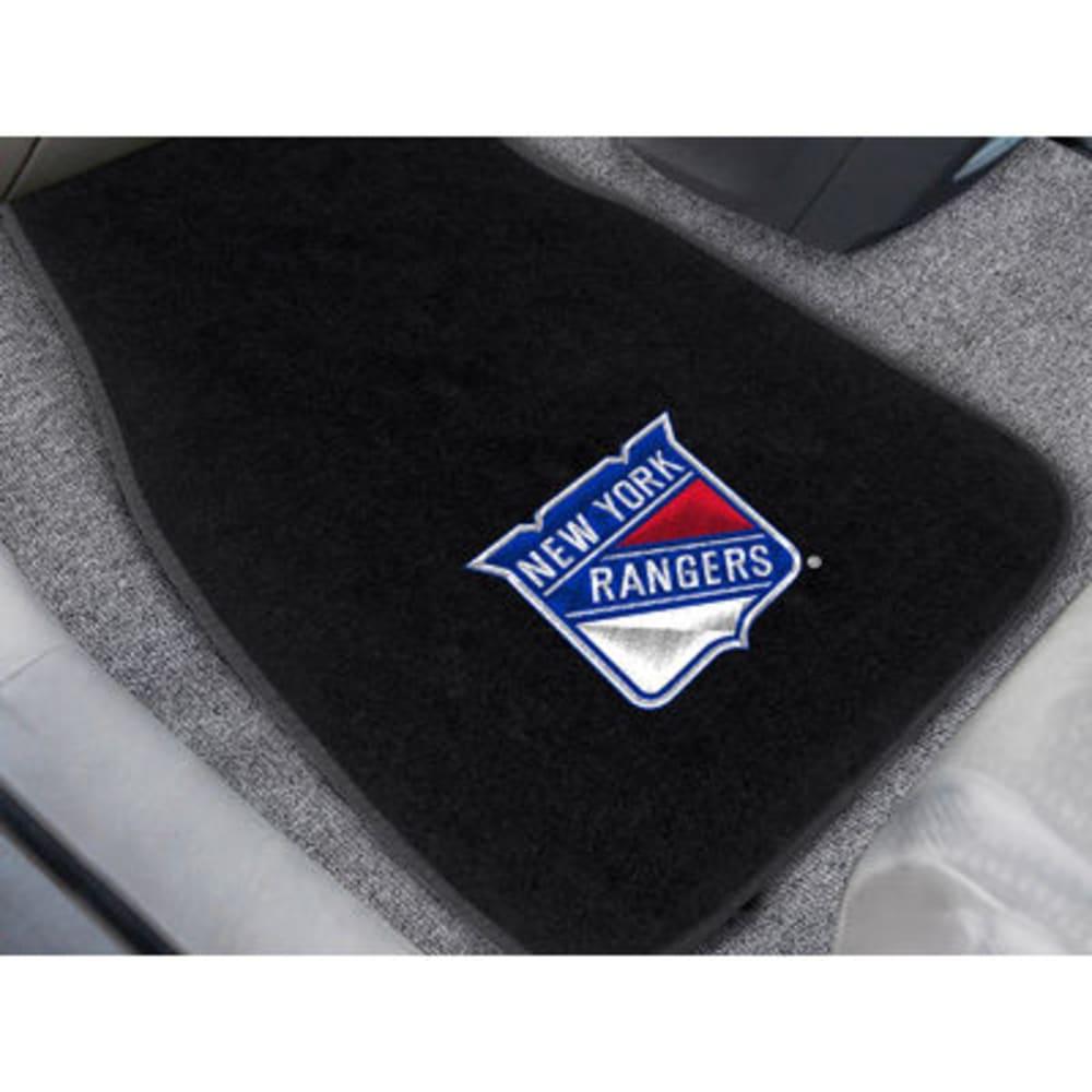 FAN MATS New York Rangers 2-Piece Embroidered Car Mat Set, Black - BLACK