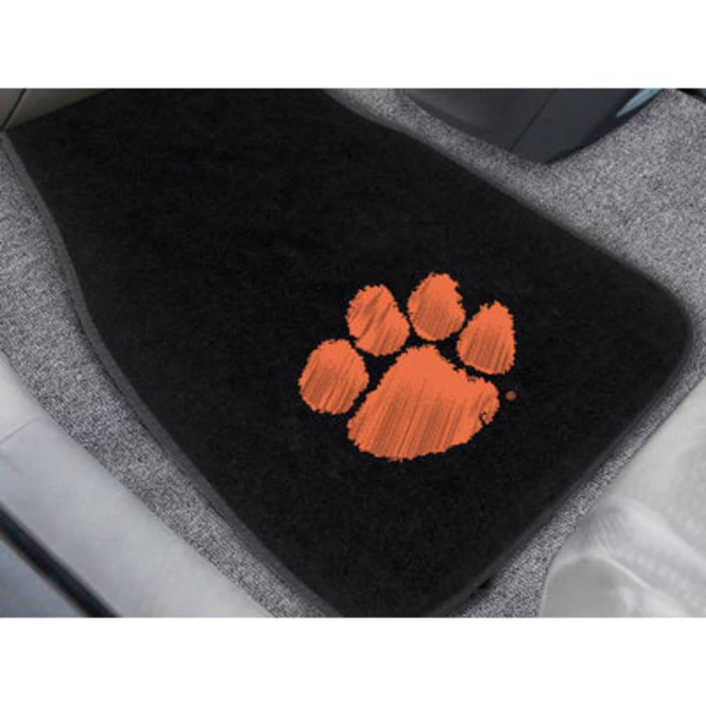 FAN MATS Clemson University 2-Piece Embroidered Car Mat Set, Black - BLACK