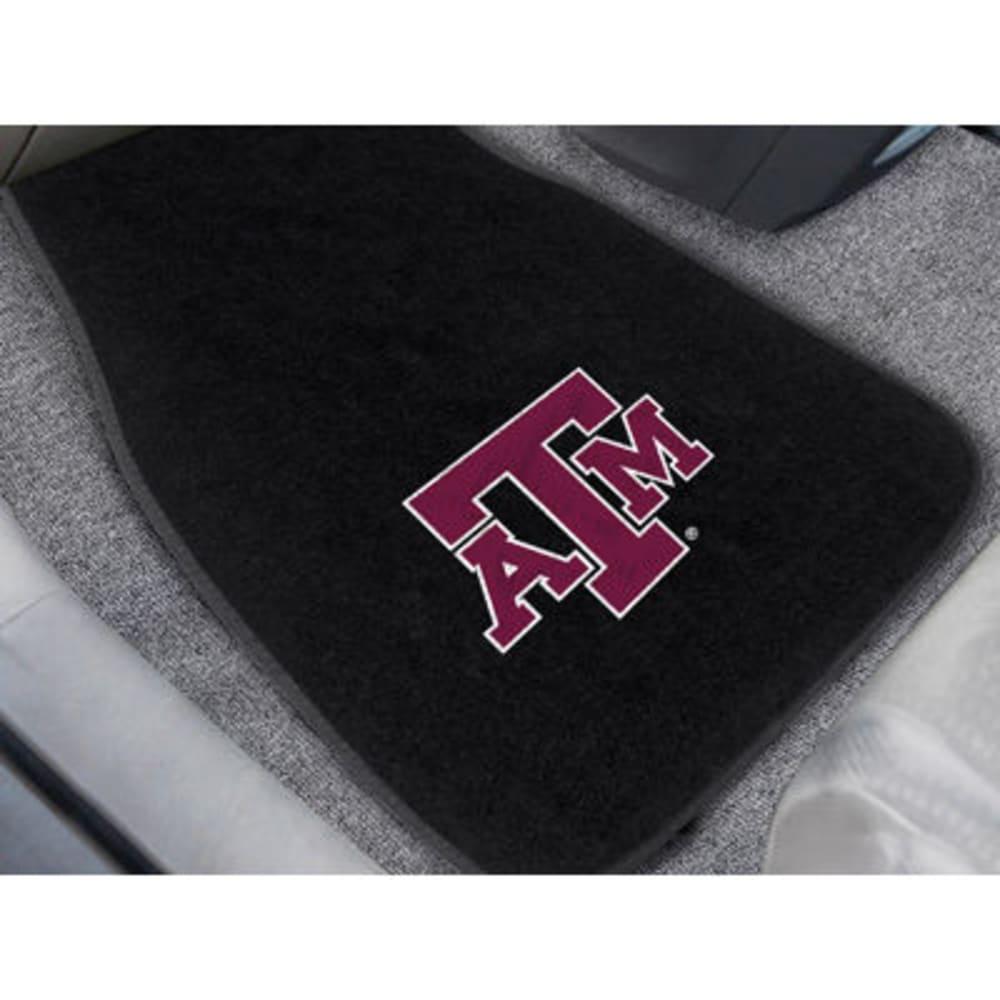 FAN MATS Texas A&M University 2-Piece Embroidered Car Mat Set, Black - BLACK