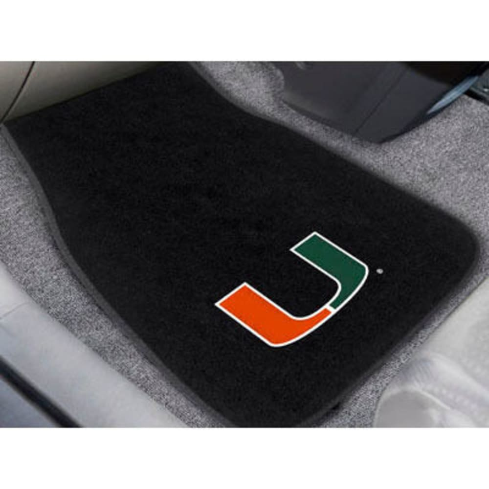 FAN MATS University of Miami 2-Piece Embroidered Car Mat Set, Black - BLACK