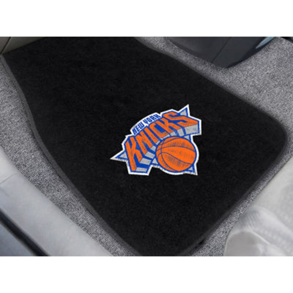 FAN MATS New York Knicks 2-Piece Embroidered Car Mat Set, Black - BLACK