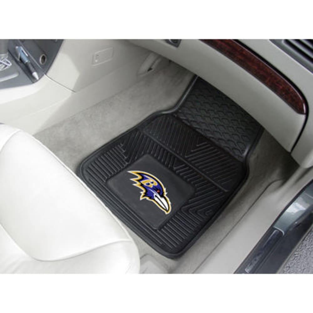 FAN MATS Baltimore Ravens 2-Piece Vinyl Car Mat Set, Black - BLACK