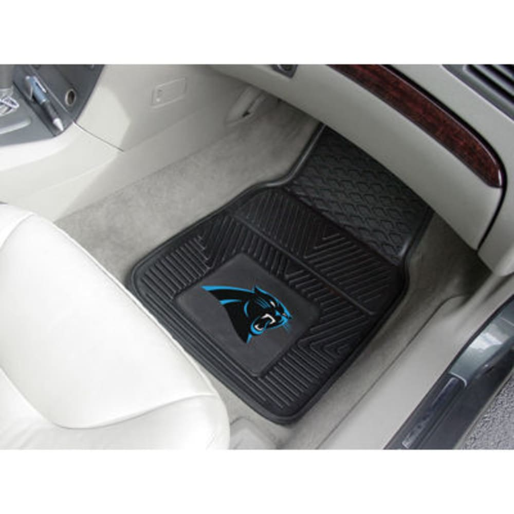 Fan Mats Carolina Panthers 2-Piece Vinyl Car Mat Set, Black