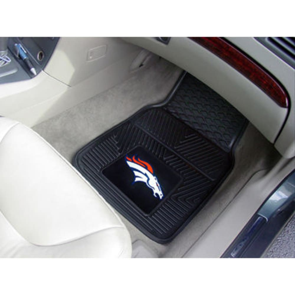 FAN MATS Denver Broncos 2-Piece Vinyl Car Mat Set, Black - BLACK