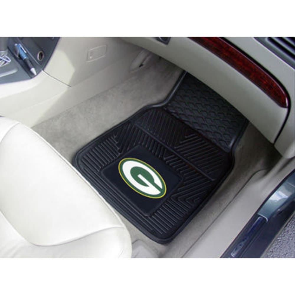 FAN MATS Green Bay Packers 2-Piece Vinyl Car Mat Set, Black - BLACK