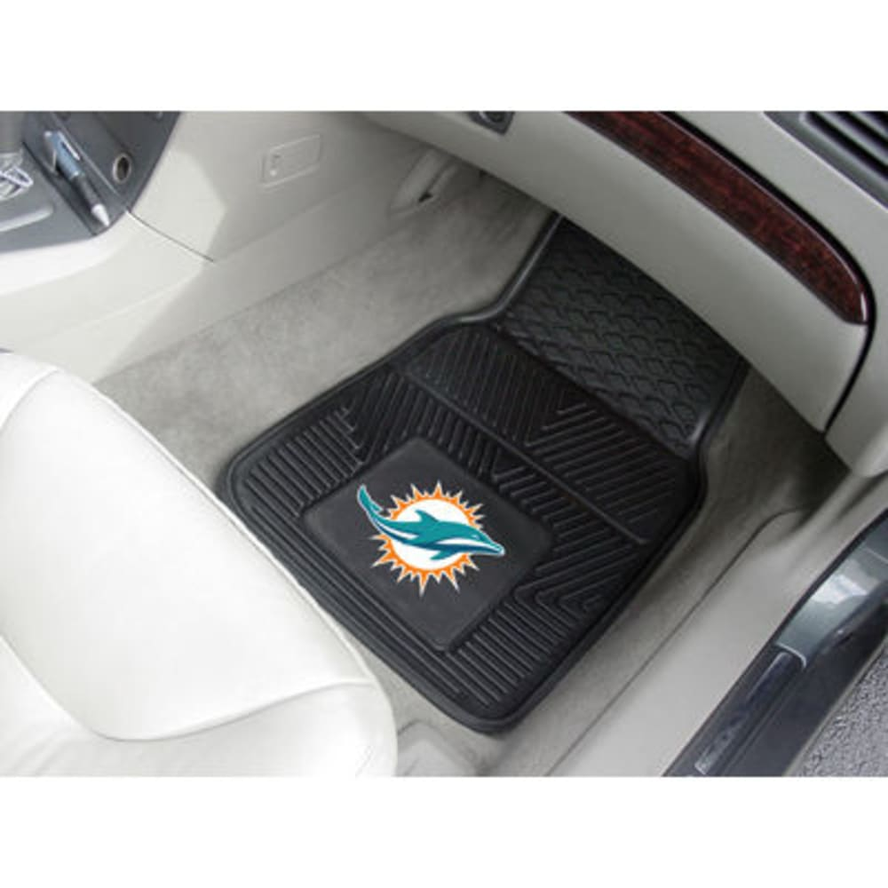 FAN MATS Miami Dolphins 2-Piece Vinyl Car Mat Set, Black ONE SIZE