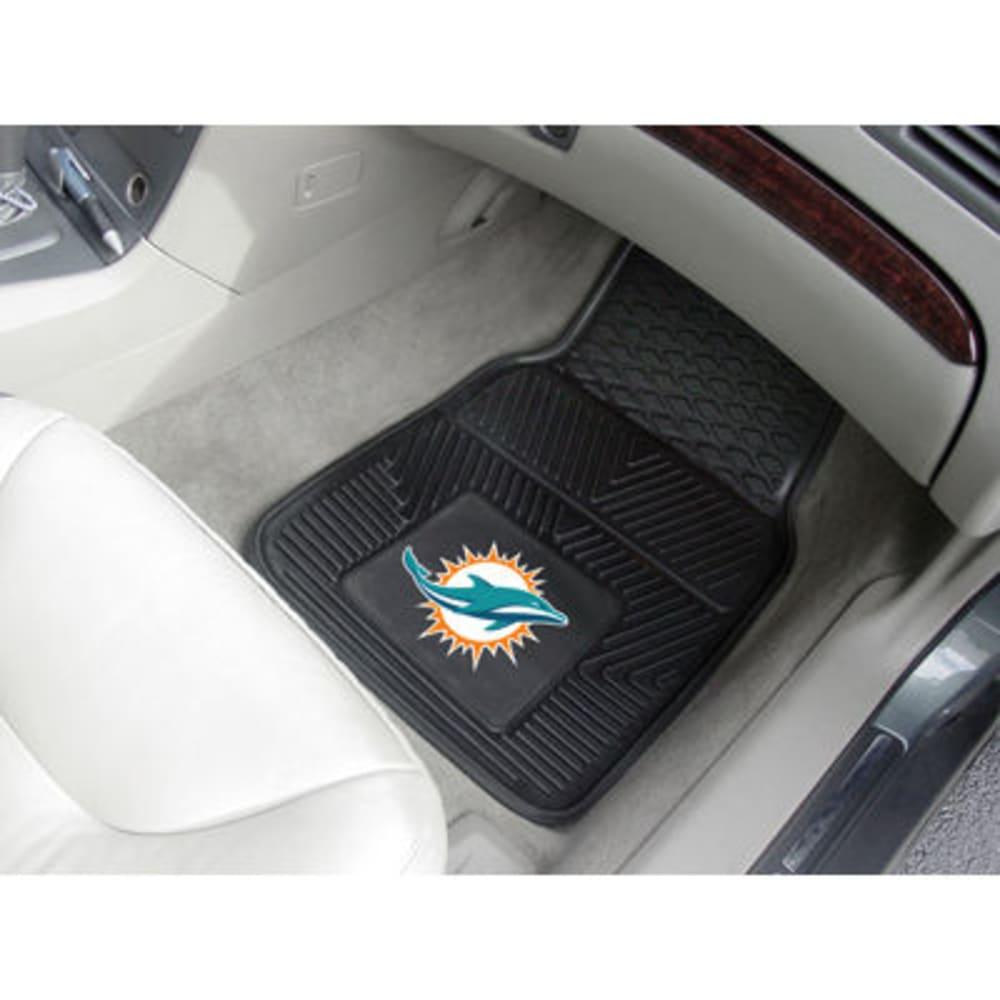 FAN MATS Miami Dolphins 2-Piece Vinyl Car Mat Set, Black - BLACK