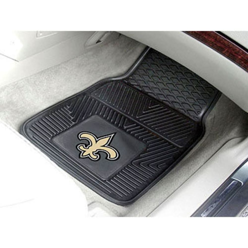 Fan Mats New Orleans Saints 2-Piece Vinyl Car Mat Set, Black