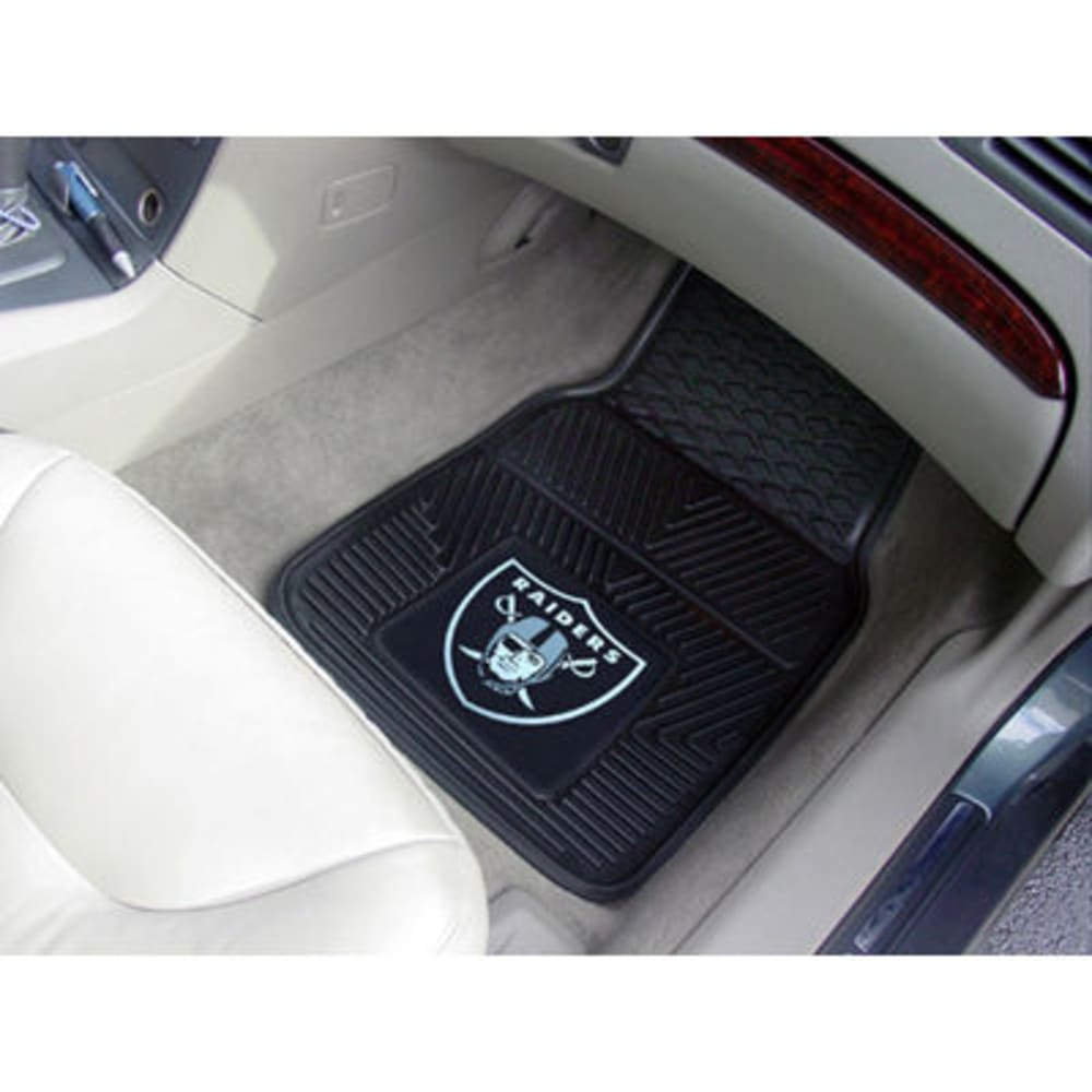 Fan Mats Oakland Raiders 2-Piece Vinyl Car Mat Set, Black