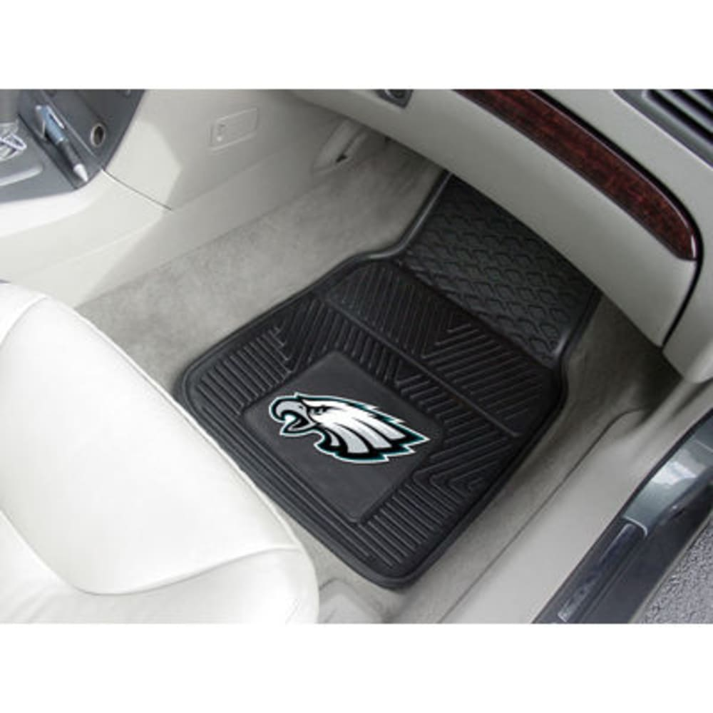 Fan Mats Philadelphia Eagles 2-Piece Vinyl Car Mat Set, Black