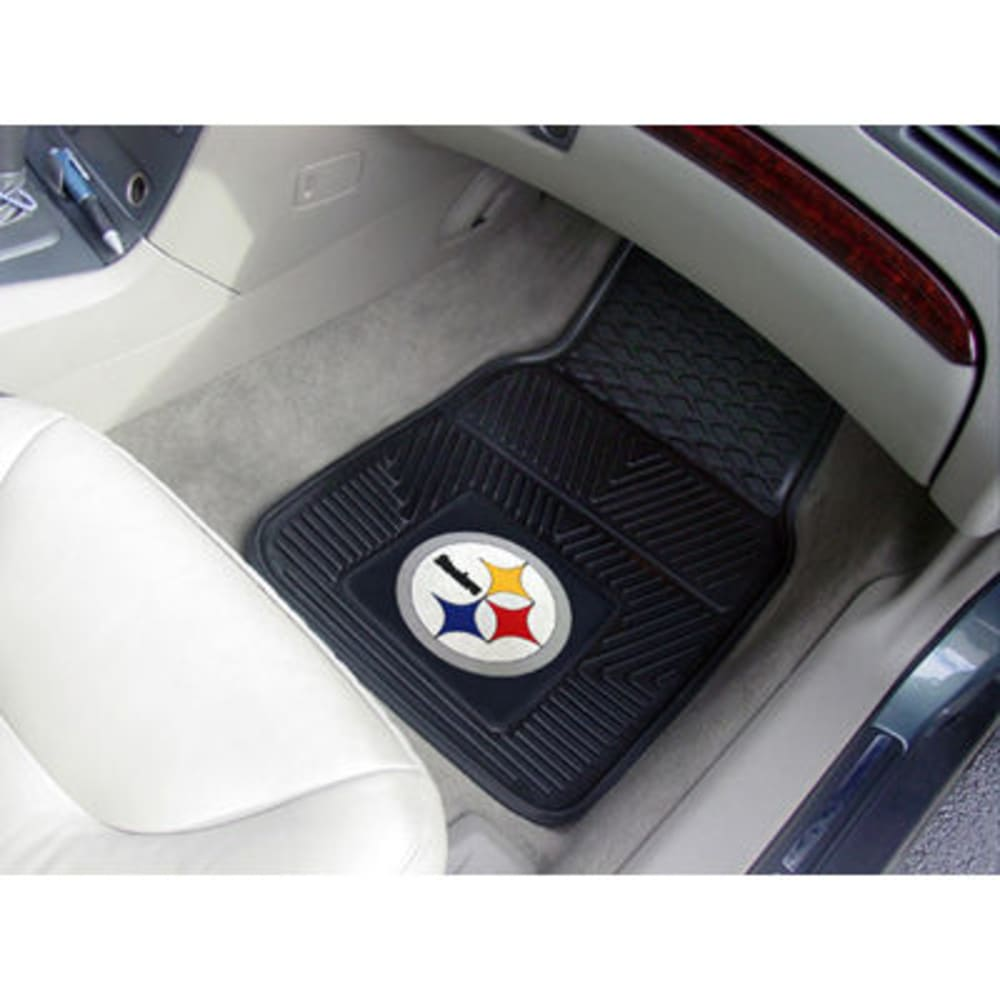 FAN MATS Pittsburgh Steelers 2-Piece Vinyl Car Mat Set, Black - BLACK