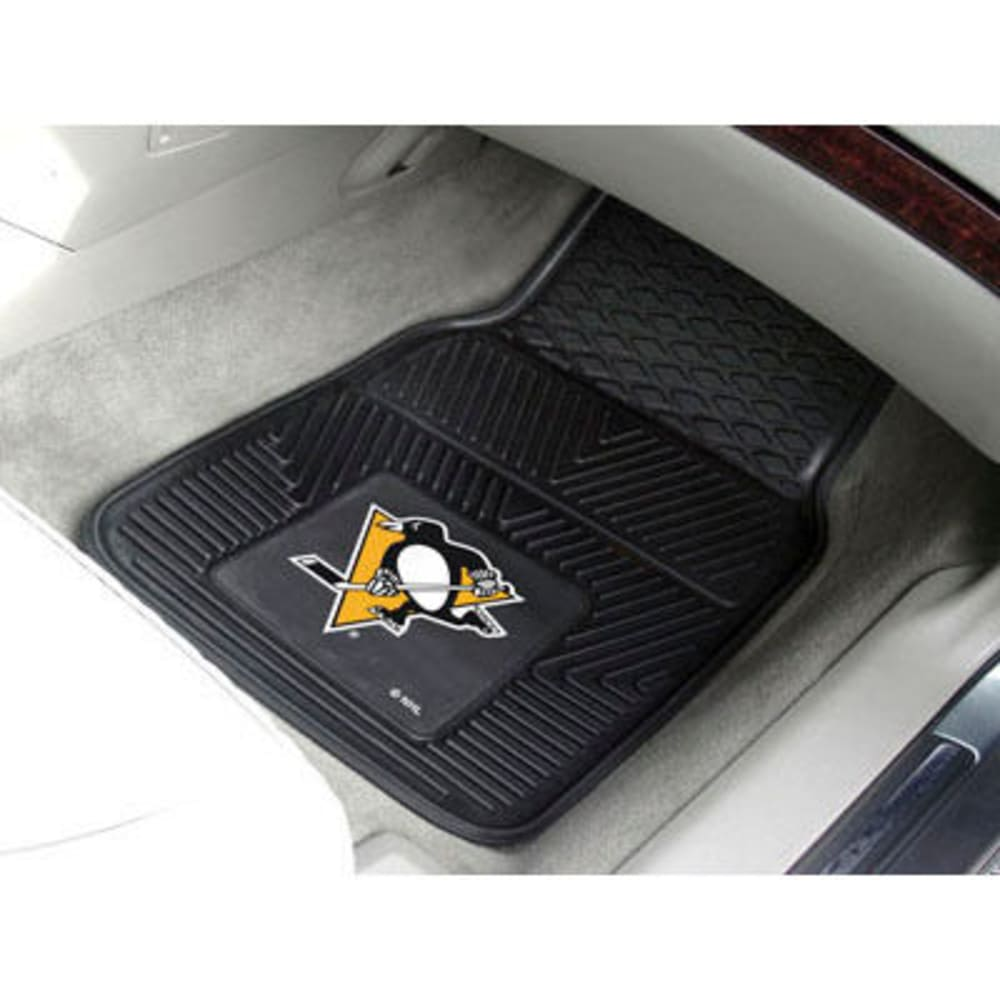 Fan Mats Pittsburgh Penguins 2-Piece Vinyl Car Mat Set, Black