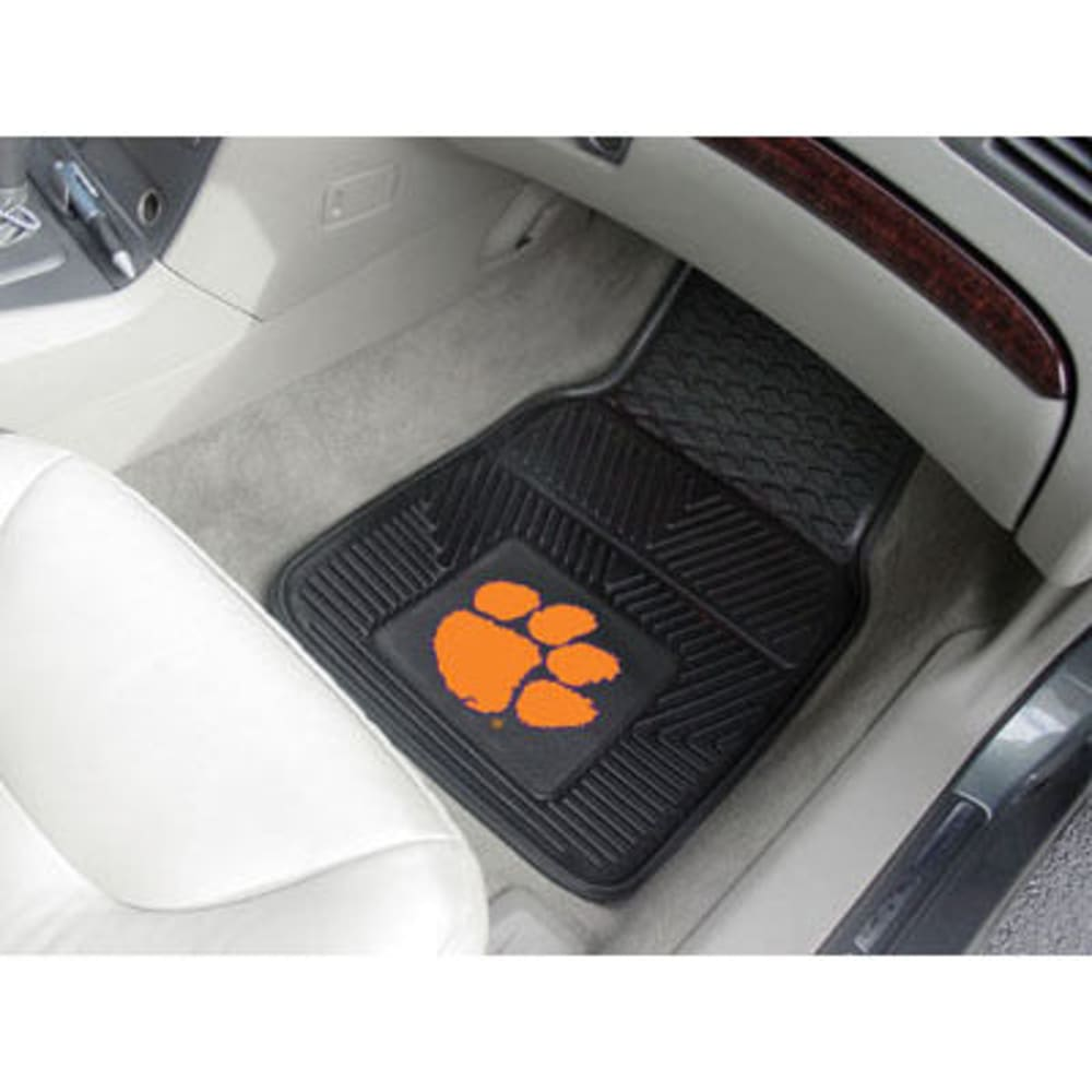 Fan Mats Clemson University 2-Piece Vinyl Car Mat Set, Black