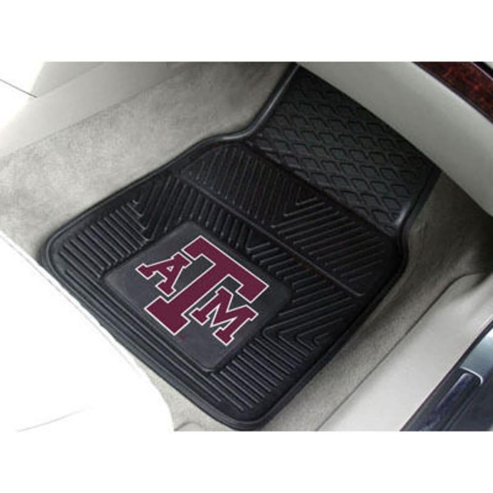 FAN MATS Texas A&M University 2-Piece Vinyl Car Mat Set, Black - BLACK