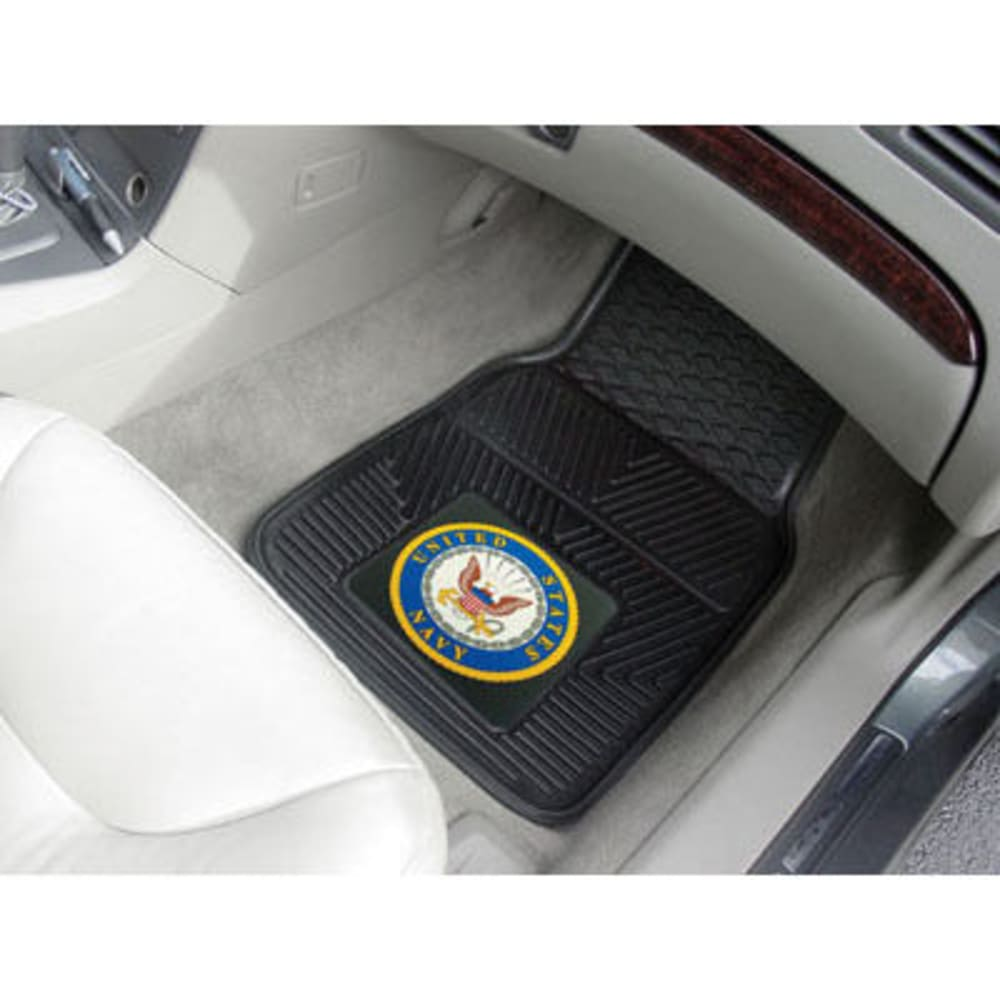 Fan Mats U.s. Navy 2-Piece Vinyl Car Mat Set, Black