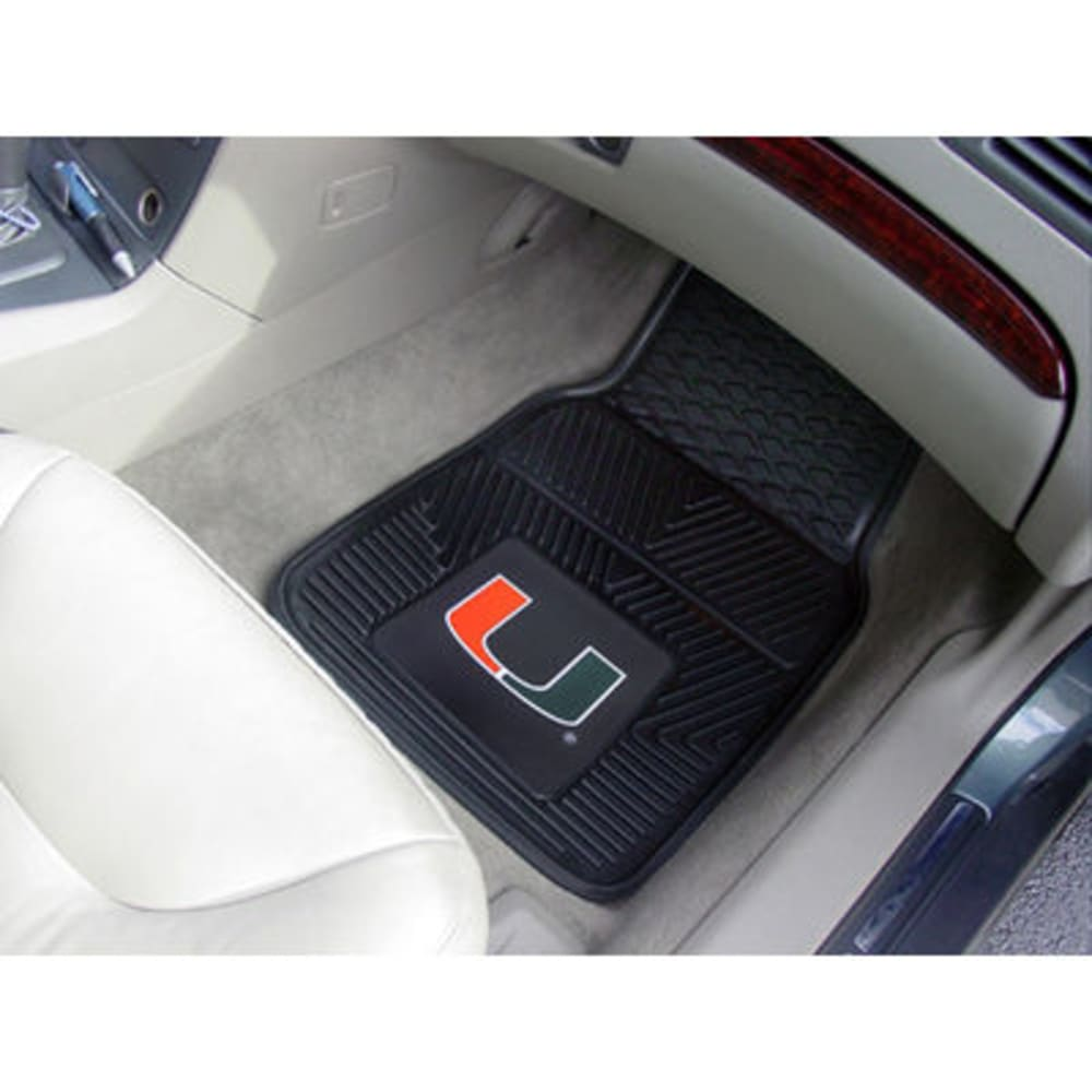 Fan Mats University Of Miami 2-Piece Vinyl Car Mat Set, Black