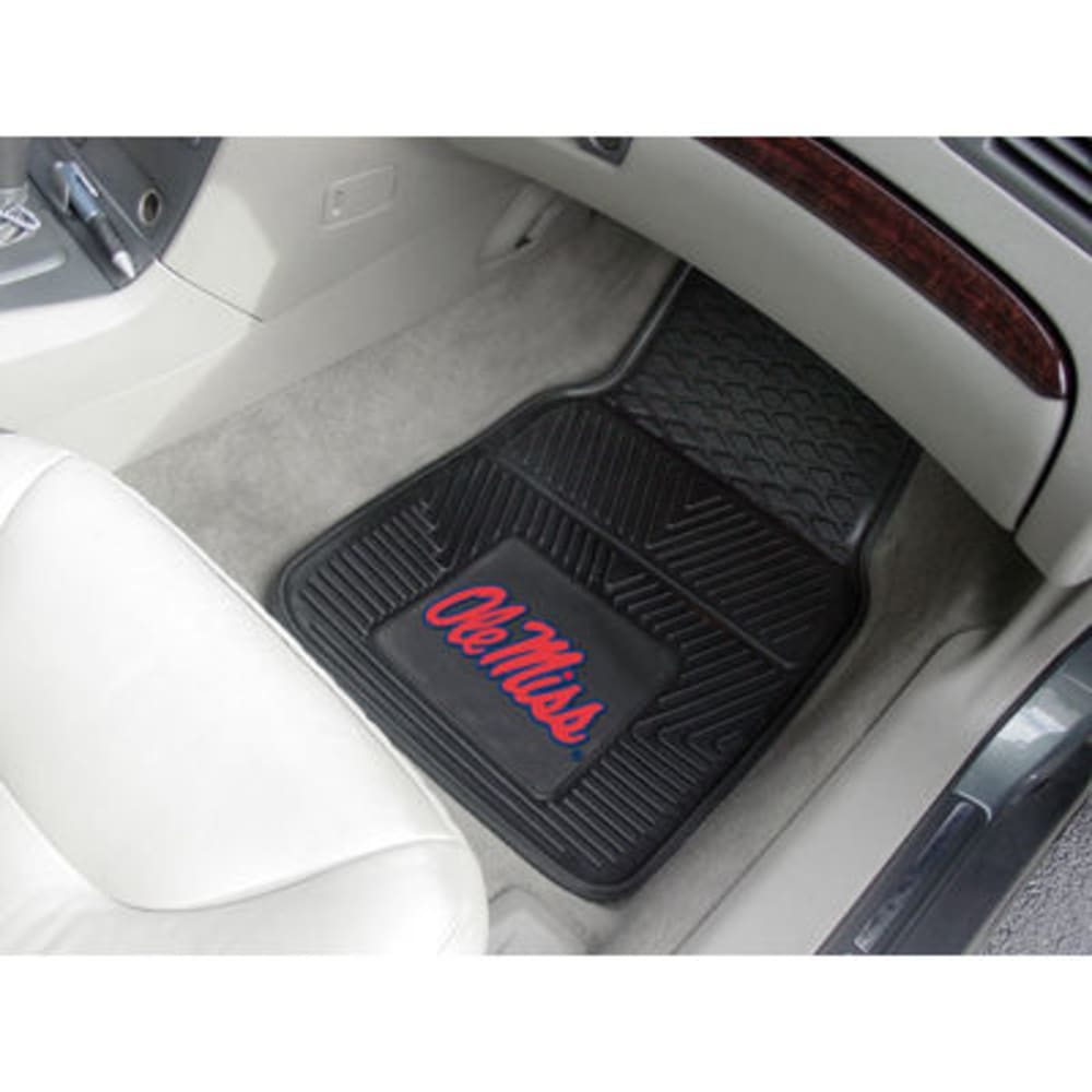 FAN MATS University of Mississippi (Ole Miss) 2-Piece Vinyl Car Mat Set, Black ONE SIZE