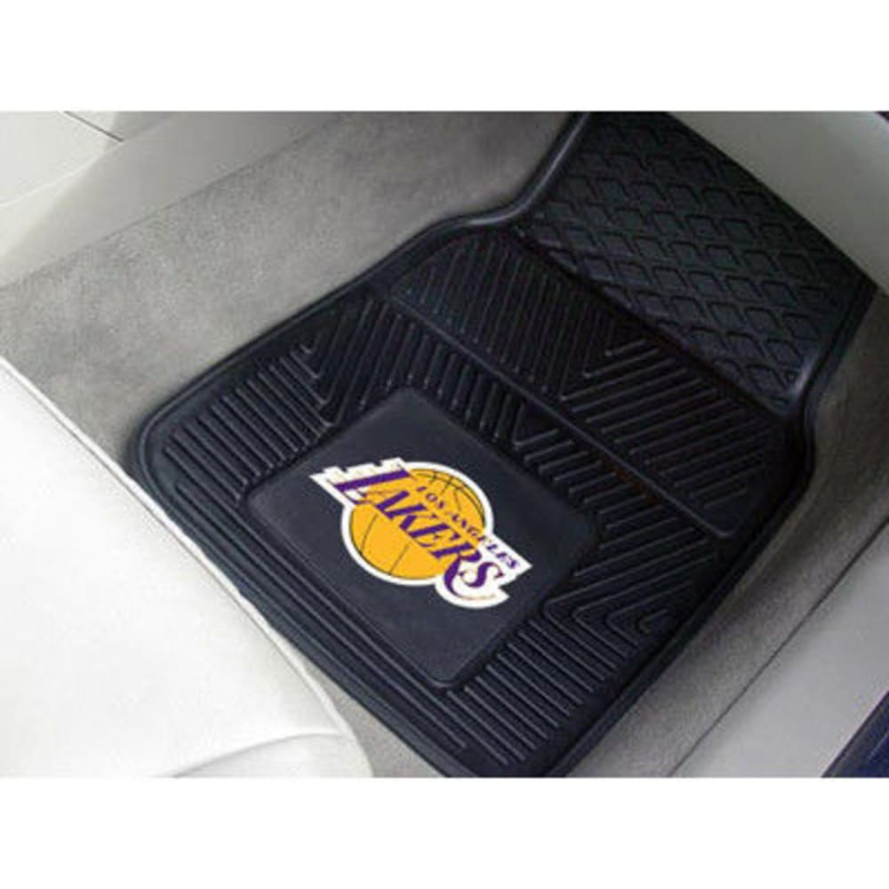 FAN MATS Los Angeles Lakers 2-Piece Vinyl Car Mat Set, Black ONE SIZE