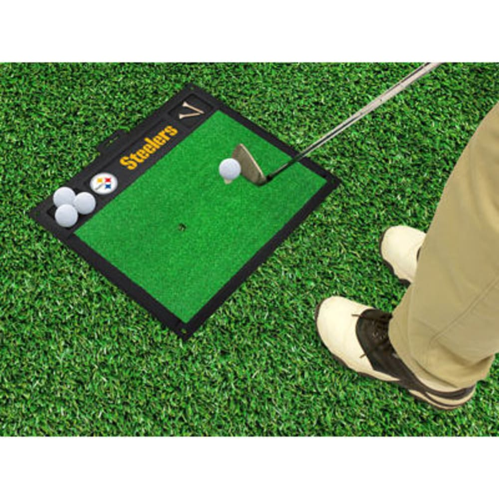 FAN MATS Pittsburgh Steelers Golf Hitting Mat, Green/Black - GREEN/BLACK