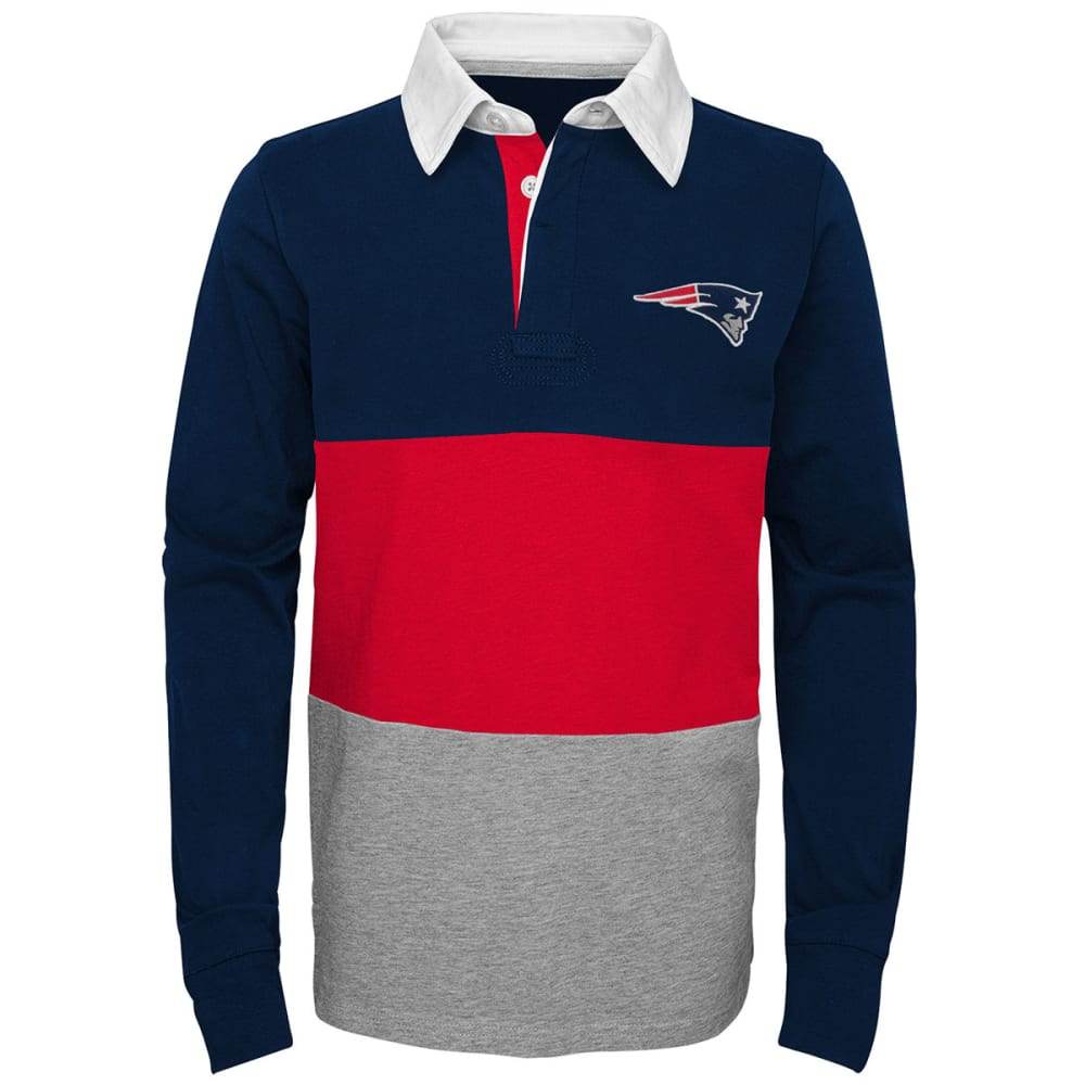 NEW ENGLAND PATRIOTS Big Boys' State of Mind Stripe Long-Sleeve Rugby Shirt - NAVY