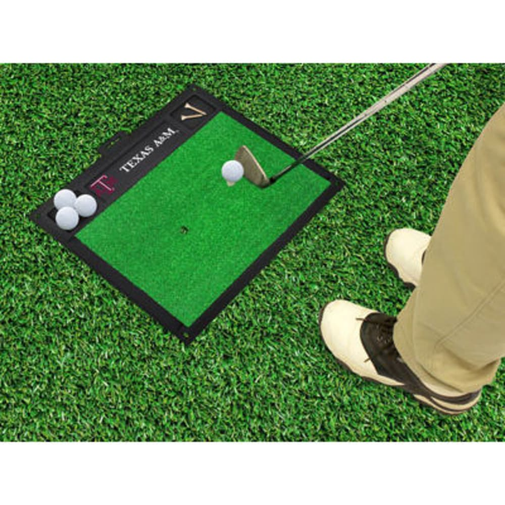 FAN MATS Texas A&M University Golf Hitting Mat, Green/Black - GREEN/BLACK