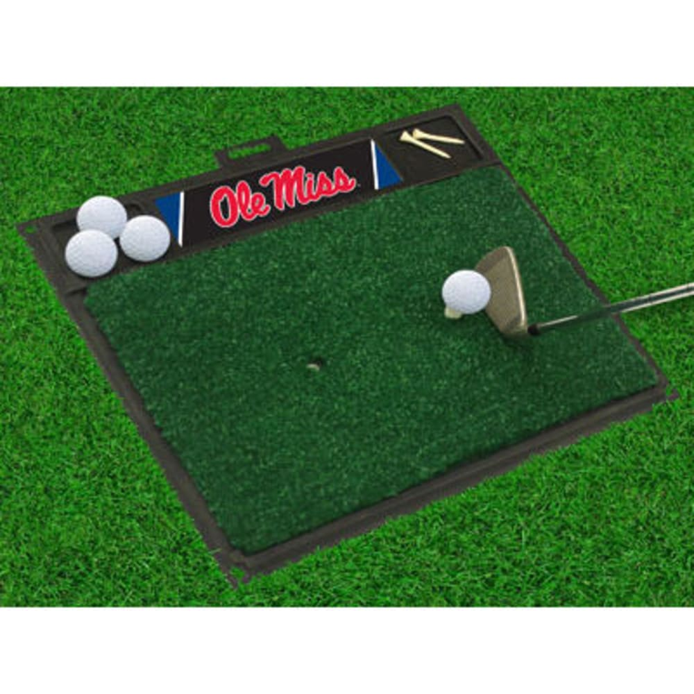 FAN MATS University of Mississippi (Ole Miss) Golf Hitting Mat, Green/Black - GREEN/BLACK