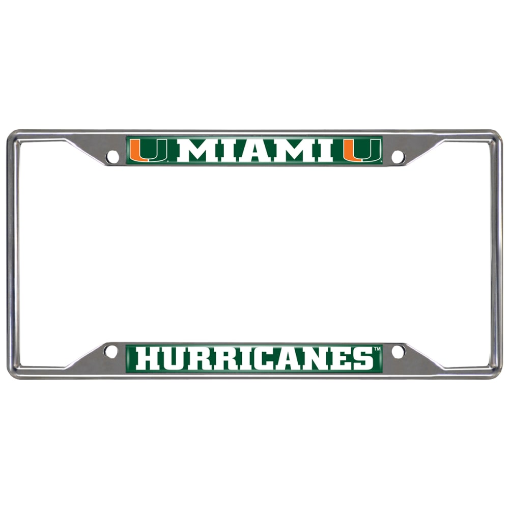 FAN MATS University of Miam Hurricanes License Plate Frame ONE SIZE