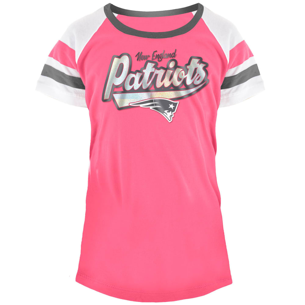 NEW ENGLAND PATRIOTS Big Girls' Pink Foil Logo Scoop-Neck Short-Sleeve Tee 4-5