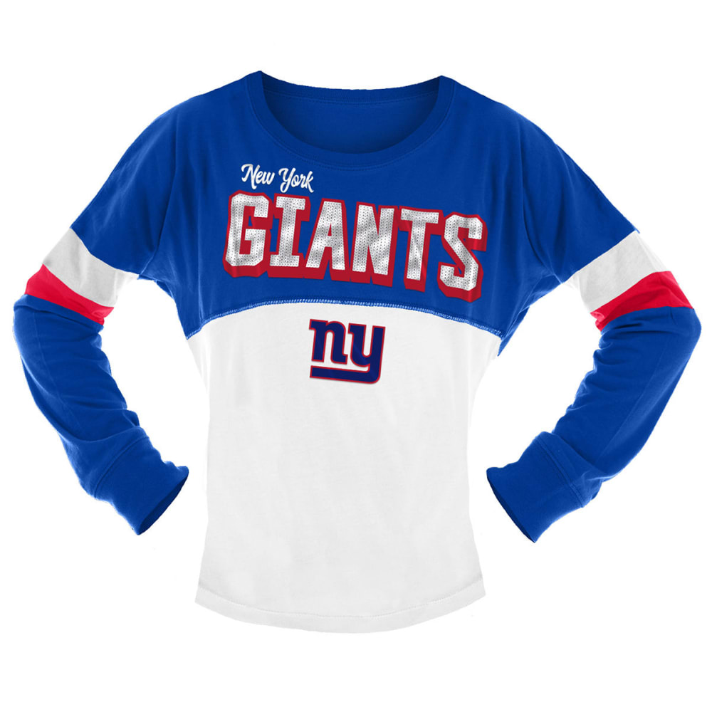 NEW YORK GIANTS Big Girls' Sequin Crew Long-Sleeve Shirt - ROYAL BLUE