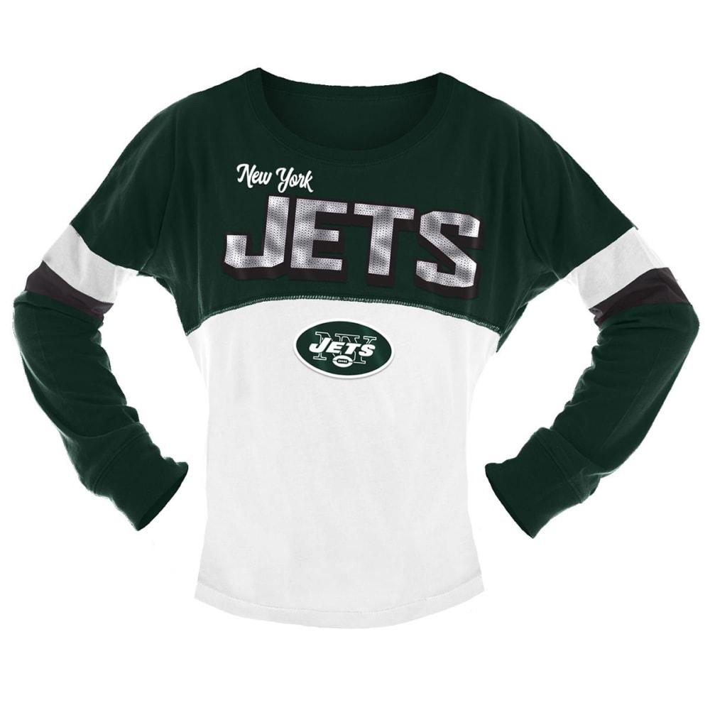 NEW YORK JETS Big Girls' Sequin Crew Long-Sleeve Shirt 6-6X