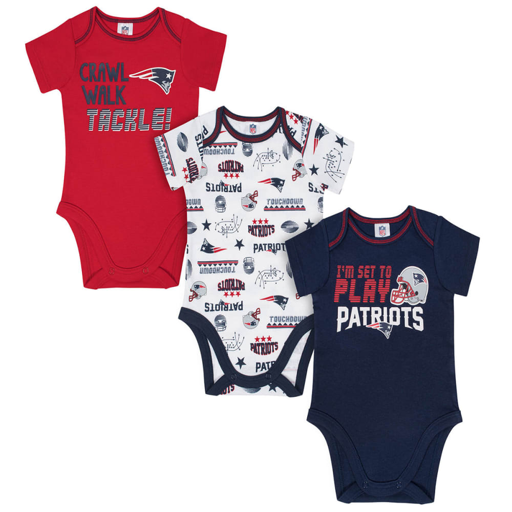NEW ENGLAND PATRIOTS Infant Boys' Bodysuits, 3-Pack - NAVY