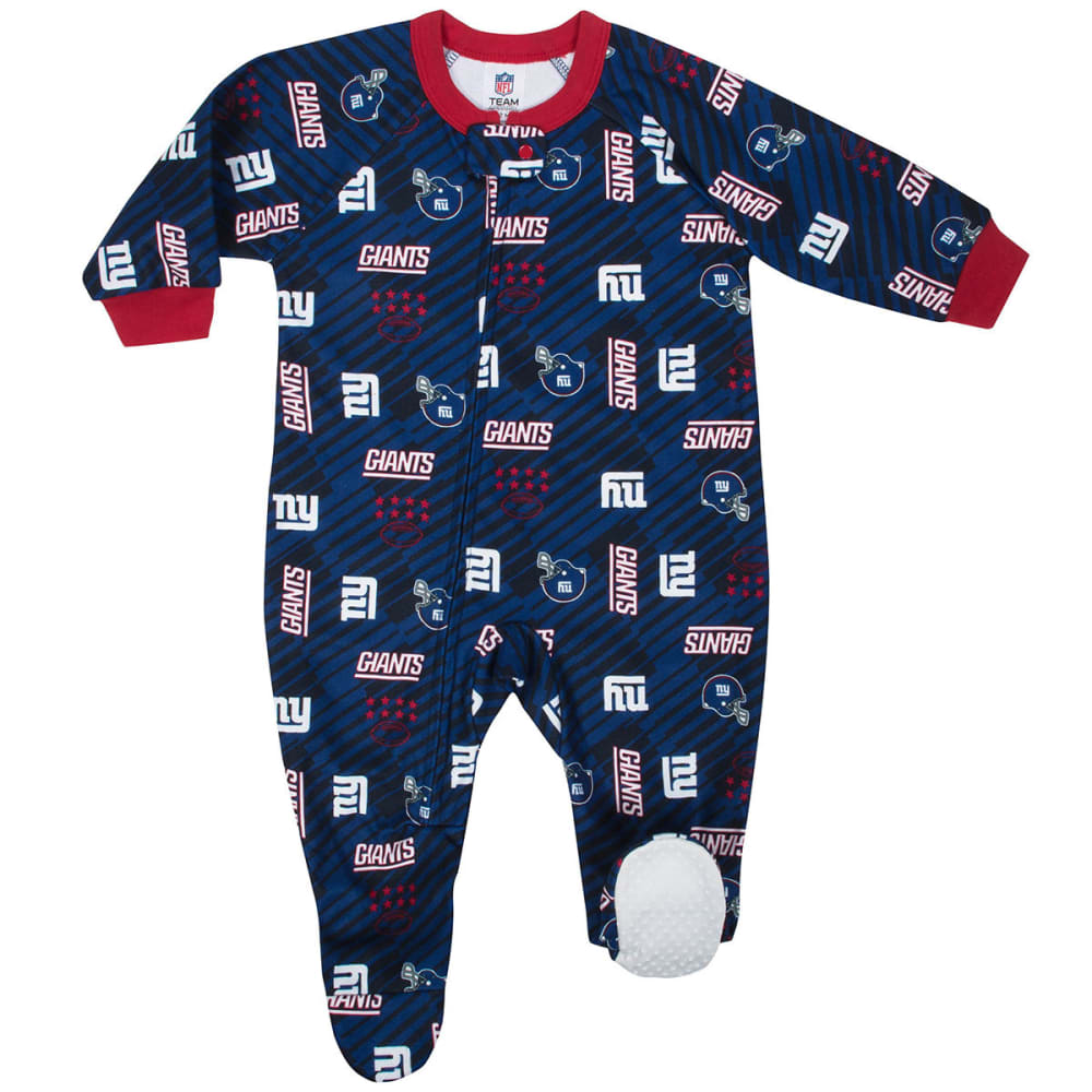 NEW YORK GIANTS Infants' Printed Blanket Sleeper Pajamas - ROYAL BLUE