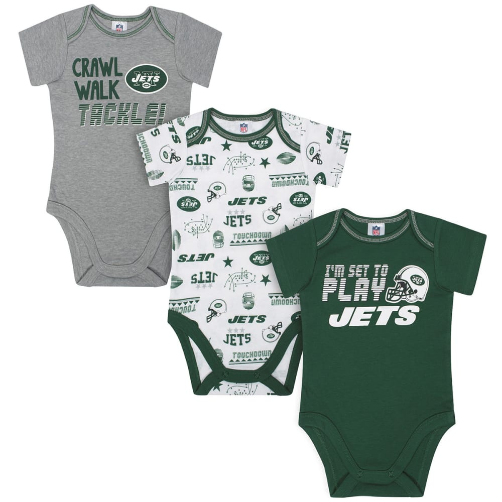 NEW YORK JETS Infant Boys' Bodysuits, 3-Pack 6-12M