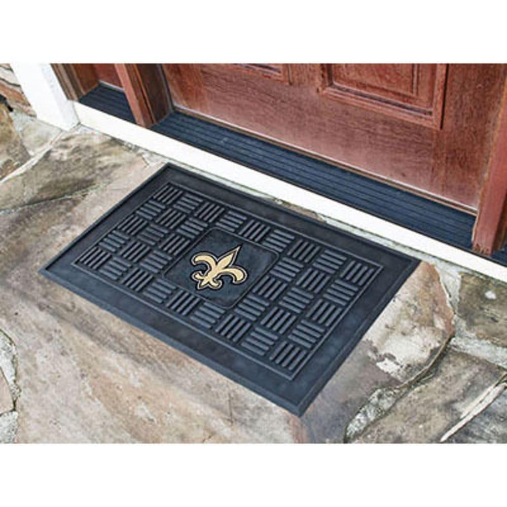 FAN MATS New Orleans Saints Medallion Door Mat, Black - BLACK