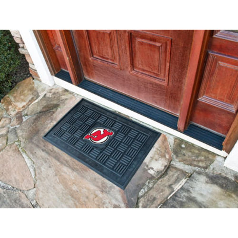 FAN MATS New Jersey Devils Medallion Door Mat, Black ONE SIZE