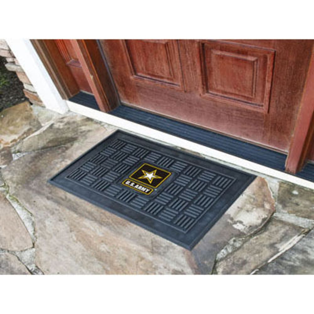 Fan Mats U.s. Army Medallion Door Mat, Black