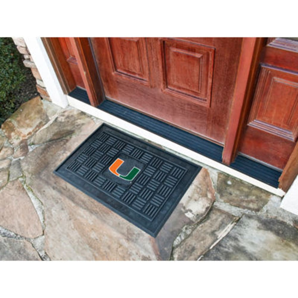 FAN MATS University of Miami Medallion Door Mat, Black ONE SIZE