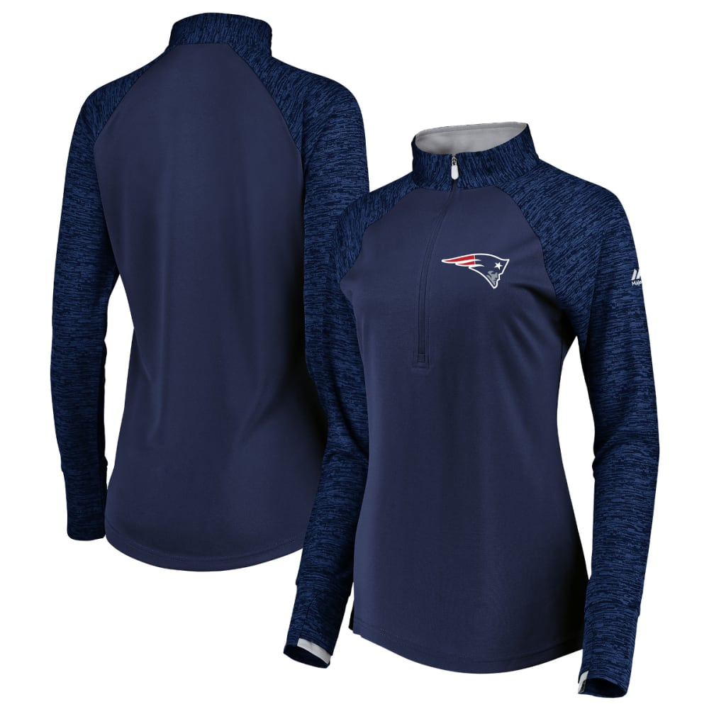 NEW ENGLAND PATRIOTS Women's Ultra Streak Mock Neck Half Zip Pullover - NAVY