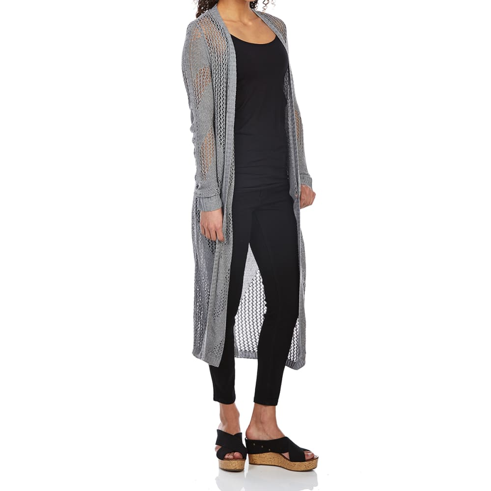 TEABERRY Women's Long Duster Cardigan - GREY HEATHER