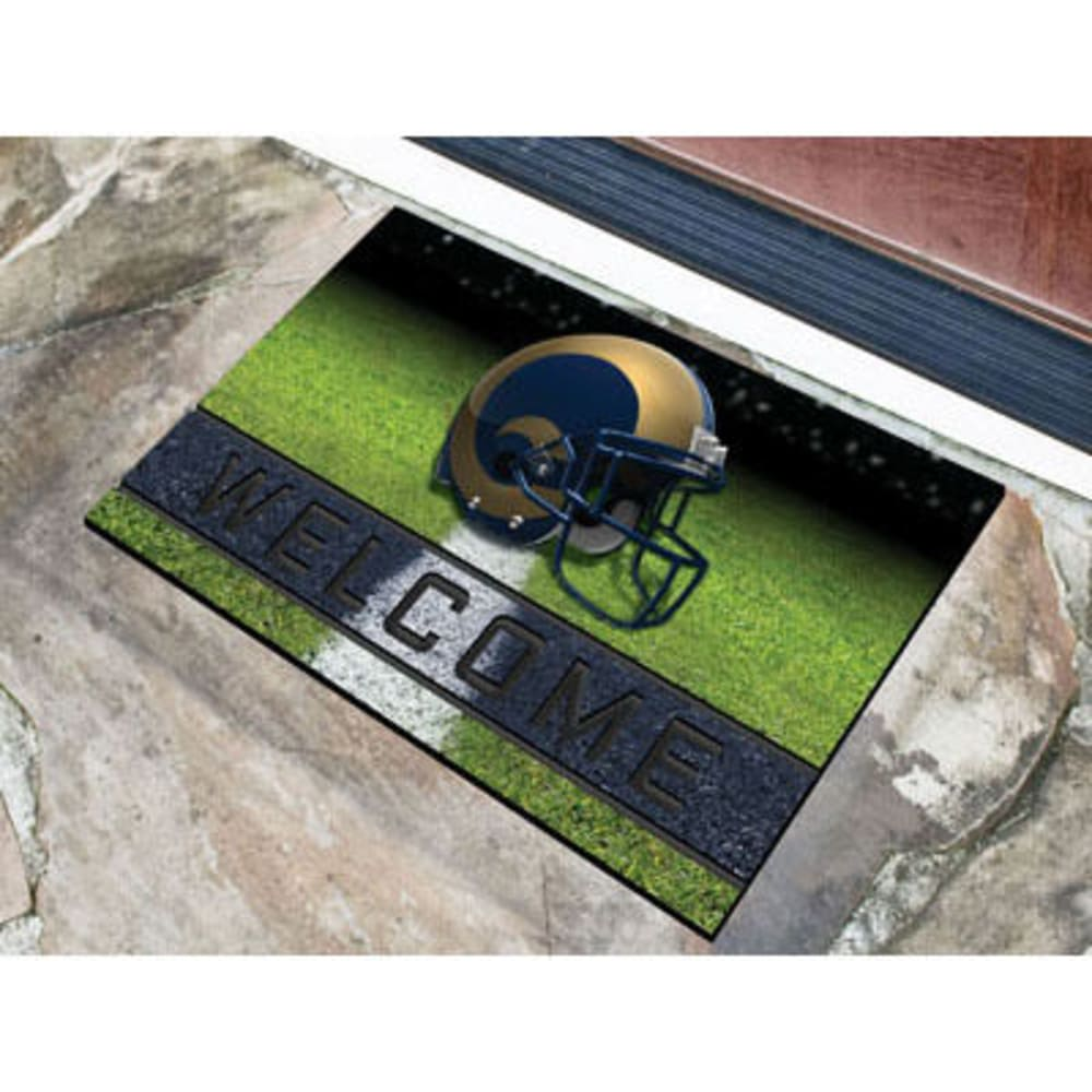 FAN MATS Los Angeles Rams Crumb Rubber Door Mat, Black/Blue - BLACK/BLUE