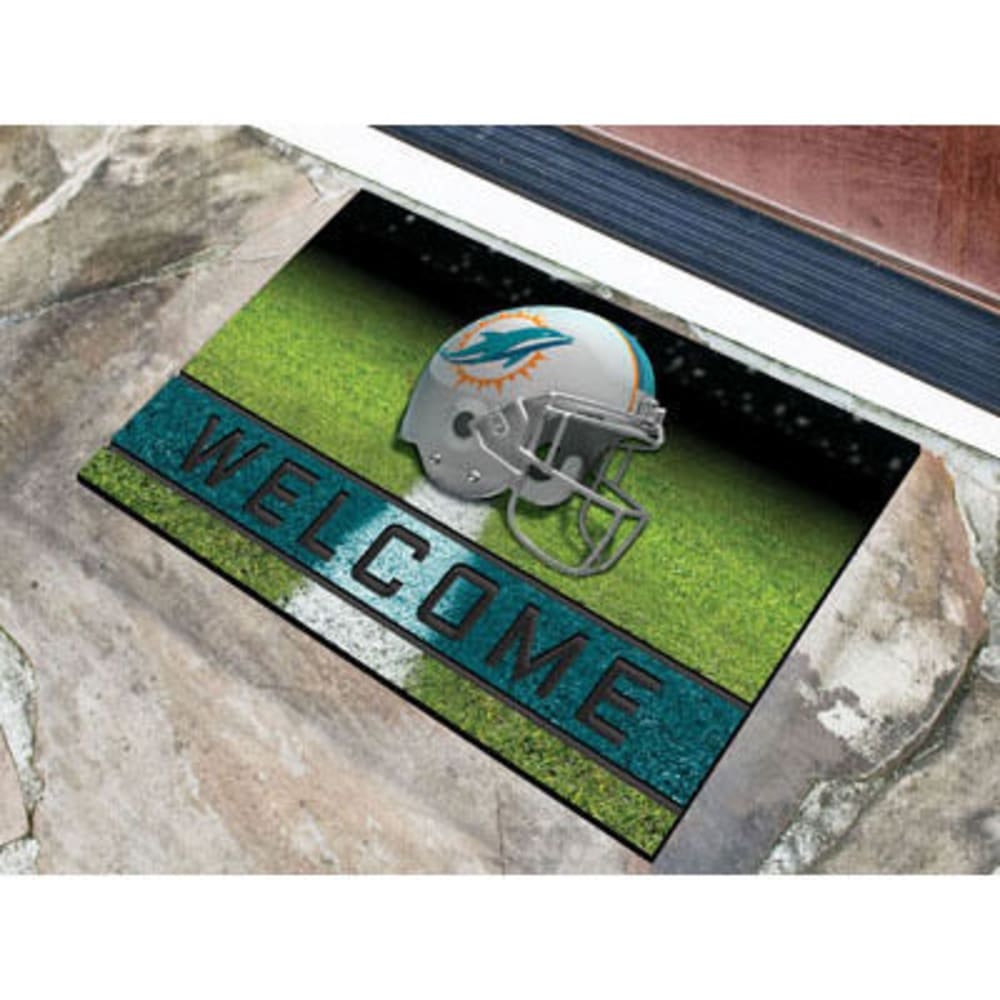 Fan Mats Miami Dolphins Crumb Rubber Door Mat, Black/aqua
