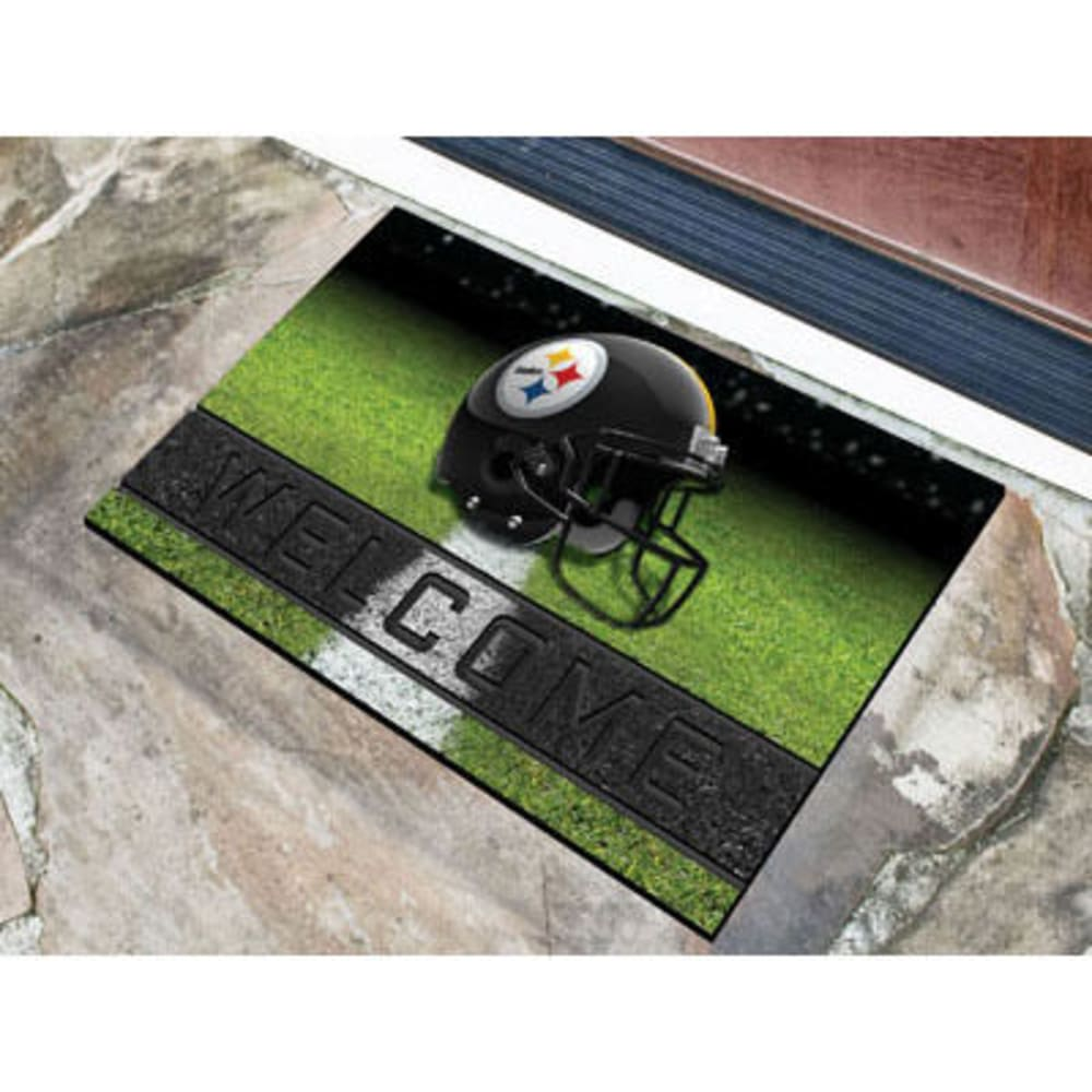 FAN MATS Pittsburgh Steelers Crumb Rubber Door Mat, Black - BLACK
