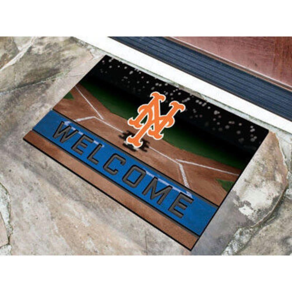FAN MATS New York Mets Crumb Rubber Door Mat, Black/Blue - BLACK/BLUE